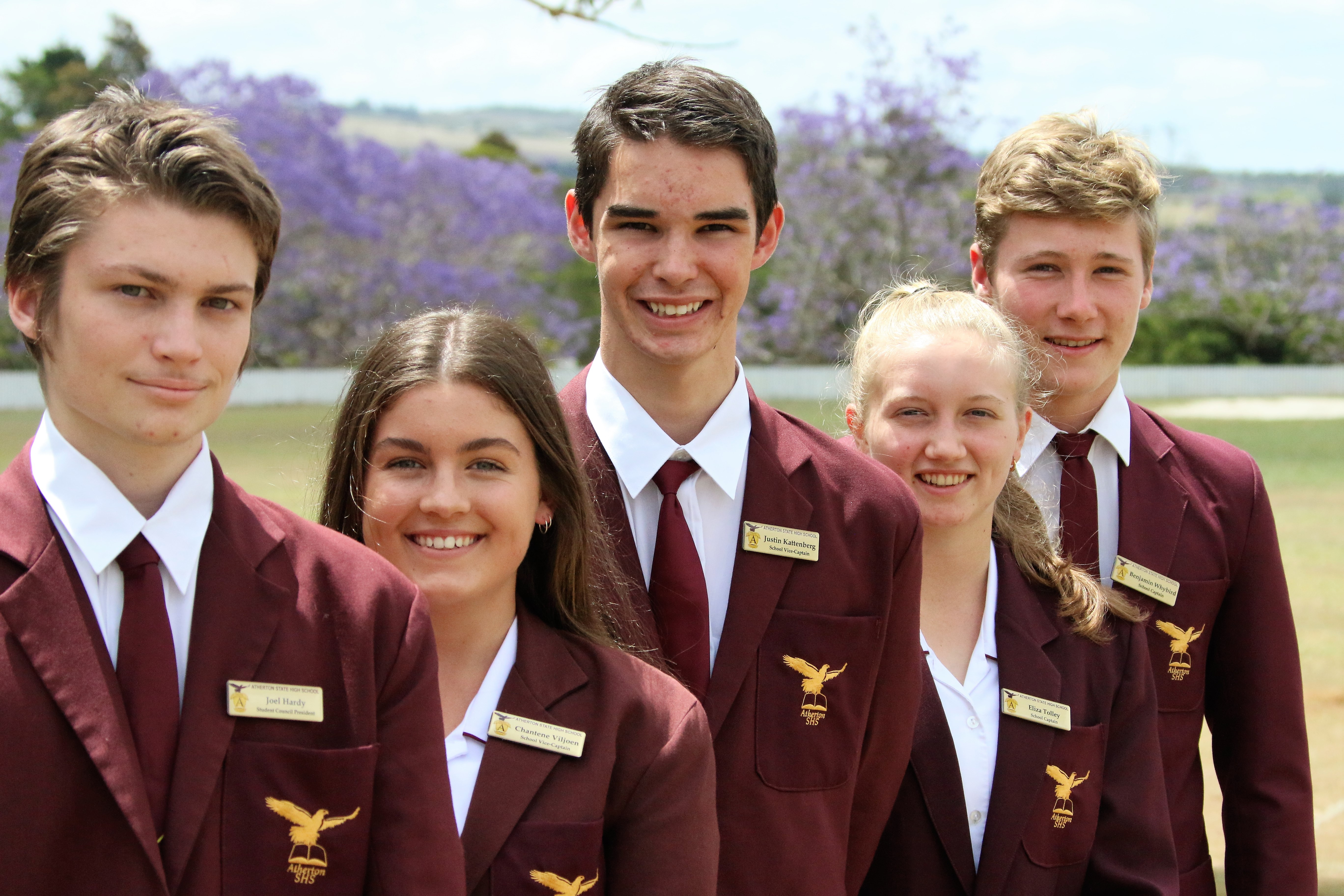 (L to R) The School Leaders 2020 for Atherton State High School are Joel Hardy (Student Council President), Chantene Viljoen (Vice-Captain), Justin Kattenberg (Vice-Captain), Eliza Tolley (School Captain), and Benjamin Whybird (School Captain) View the School
