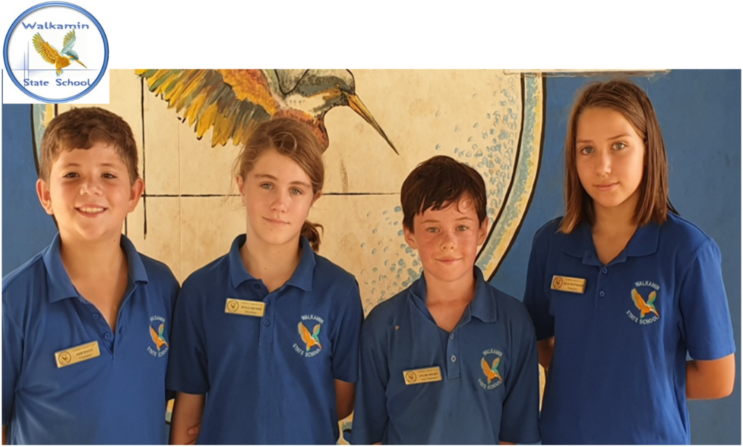 (L-R)The School Leaders 2020 for Walkamin State School are President : Sam, Secretary : Skyla, Vice President: Dylan,  and Treasurer : Ella View The School