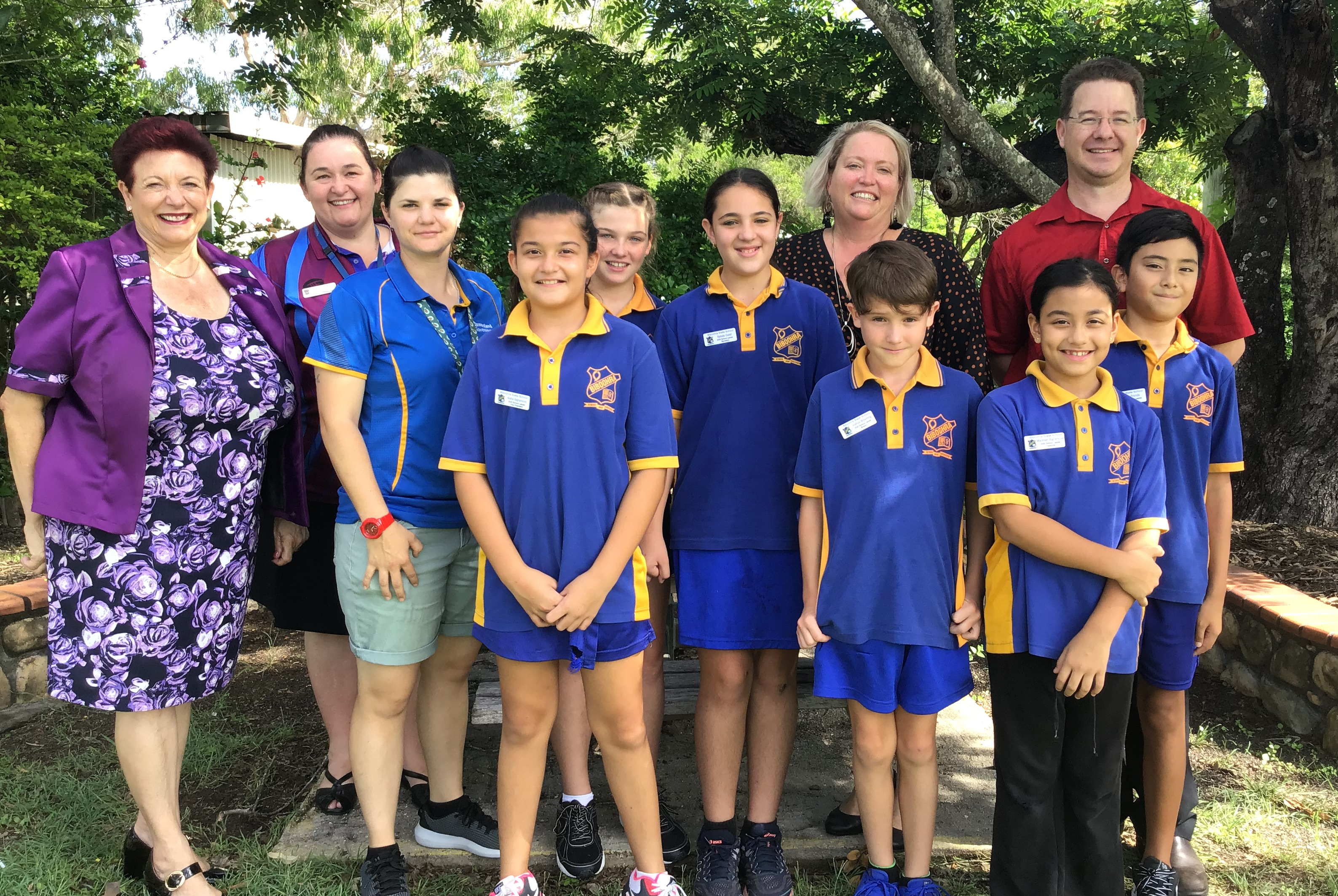 (L - R) The School Leaders 2020 for Biboohra State School are Cr. Angela Toppin, Lesa Pershouse, Year 6 teacher: Eleanor Silver, School Leader/Vice President: Aisha Bajramovic, School Leader/President: Alicia Holloway, School leader/Secretary: Natalia Galati, Cr. Lenore Wyatt, Bilwon Sports Leader: Joshua Browning, School Leader/Treasurer: Madinah Bajramovic, Kambul Sports Leader: Ivan Fronda, and School PrincipalDavid King  View The School