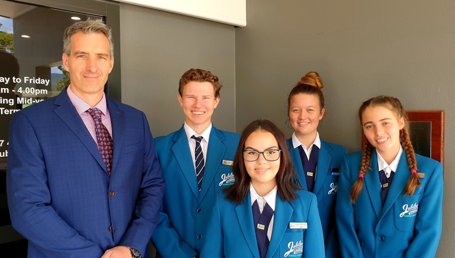 (L-R)The School Leaders 2020 for Jubilee Christian College are Principal: Mr Chris Radcliffe, Ethan Wilkinson, Temani Budden-Quirk, Amelia Hess, Lilly Fellowes. View The School